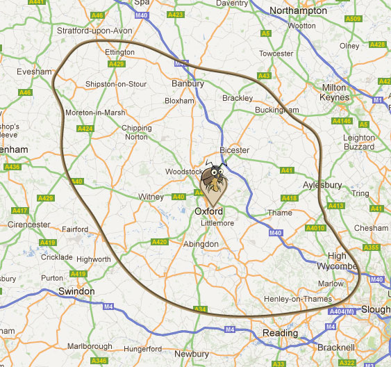 hawthorn pest control - map of areas covered - including oxfordshire, banbury, buckinghamshire & the thames valley. bicester, woodstock, abingdon,chipping norton, wheatley, thame, horspath, princes risborough, witney, stokenchurch, oxford, high wycombe, marlow, henley on thames